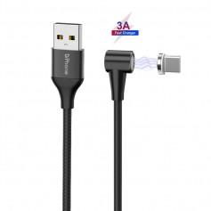 DrPhone Pro Series - Magnetische 90° Haakse USB-C Kabel - Data + Laden - 3A MAX - Sterke Magneet – 2 Meter