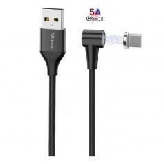 DrPhone Pro 5A - Magnetische 90° Haakse USB-C Kabel - Data + Laden - (Supercharge) 3A tot 5A MAX - Sterke Magneet – 2 Meter