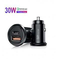 DrPhone® Invisible Pro Autolader - 30W - USB-C met PD (power delivery) Snel Laden - Smartphones / Tablets en meer – Zwart