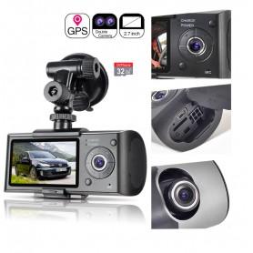 DrPhone DASH3 - DashCam Dubbele Camera GPS + 32GB Micro SD - 2.7 inch TFT LCD - Microfoon - G-Sensor HD DVR - 2x Camera