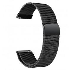 DrPhone Universele Magnetische Milanese Armband - 18mm - RVS Horlogeband - Zwart