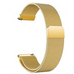 DrPhone Universele Magnetische Milanese Armband - 18mm - RVS Horlogeband - Goud