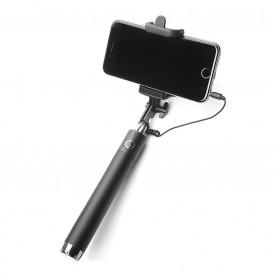 DrPhone PiX Light® - Selfie Stick - Universeel Voor Smartphones tot 6.5 inch - Met kabel & Afstandbediening - Zwart