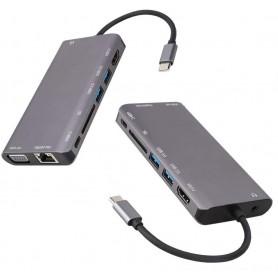 DrPhone HB8 USB C Hub - 8 in 1 - USB3.0x2 + HDMI 4K /VGA 1080P+Jack 3.5+Gigabit Network LAN + Type-C(Pd) 87W