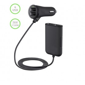 DrPhone PCC1 Auto & Vrachtwagen 12-24V lader 36W 7.2A met 4 USB-poorten voor opladen - Voor- en Achterbank - Zwart