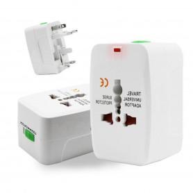 DrPhone Universele USB Internationale Reisstekker voor 150+ landen - AU / UK / US / EU - Overspanningsbeveiliging - Wit