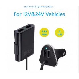 DrPhone PCC4 Auto & Vrachtwagen 12-24V lader 48W 9.6A met 4 USB-poorten voor opladen - Voor- en Achterbank - Zwart
