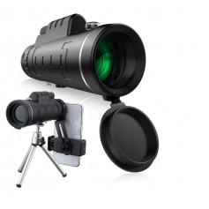 DrPhone - ALPHA2 Telescoop 60x40 BAK4 Verrekijker - 10x Zoom - Handheld + Statief + Smartphone Houder - Zwart