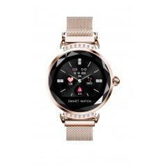 DrPhone L20 Ladies - Slimme Horloge - Luxe Diamant Kristallen Smartwatch Vrouwen - Stappenteller & Hartslagmeter - RoseGoud
