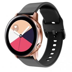 DrPhone Samsung Galaxy S3 / Watch 46mm Horlogeband – Siliconen band – Metalen gesp – 22mm - Zwart