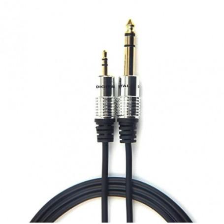 Drphone DXR® 3.5mm naar 6.5mm stereo audio adapter verloop plug coverter kabel - hoge kwaliteit - silver