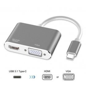 DrPhone CHX - 2 in 1 Adapter USB-C naar HDMI & VGA - 4k 3840*2160P / 30Hz - 2 Display Aansluiten - Silver