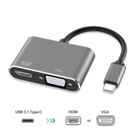DrPhone CHX - 2 in 1 Adapter USB-C naar HDMI & VGA - 4k 3840*2160P / 30Hz - 2 Display Aansluiten - Space Grey