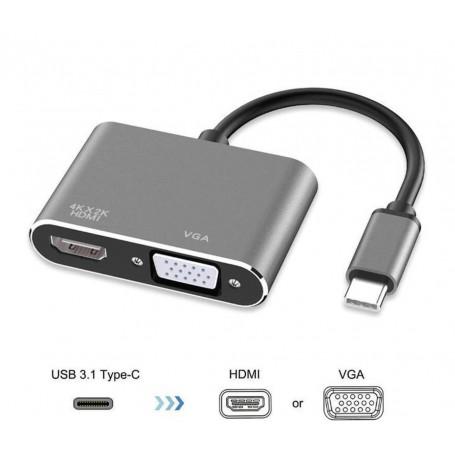 DrPhone CHX - 2 in 1 Adapter USB-C naar HDMI & VGA - 4k 3840*2160P / 30Hz - 2 Display Aansluiten - Space Grey