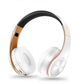DrPhone Draadloze Bluetooth Koptelefoon met 4 functies - SD kaart - FM - AUX - Handsfree Met Microfoon & Diepe Bass - Wit/Goud
