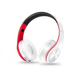 DrPhone Draadloze Bluetooth Koptelefoon met 4 functies - SD kaart - FM - AUX - Handsfree Met Microfoon & Diepe Bass - Wit/Rood