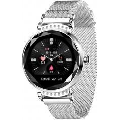 DrPhone L20 Ladies - Slimme Horloge - Luxe Diamant Kristallen Smartwatch Vrouwen - Stappenteller & Hartslagmeter - Zilver