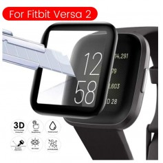 DrPhone - PROTEC® Fitbit Versa 2 Glass - 9H Full Tempered Glas - Screenprotector - Volledige Dekking - Zwart