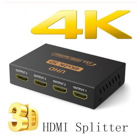 DrPhone HS1 Ultra HD 4Kx2K 30Hz HDMI-Splitter - 1 IN 4 OUT met DC 5V Adapter - Zwart