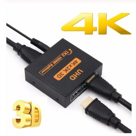 DrPhone HS2 Ultra HD 4Kx2K 30Hz HDMI-Splitter - 1 IN 2 OUT met DC 5V Adapter - Zwart