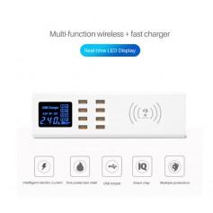 DrPhone SmartC2 - USB-laadstation met 8 USB Poorten 2.4A en Digitale LED-display/ Qi Draadloos Snel Laden 7.5/10W - Wit