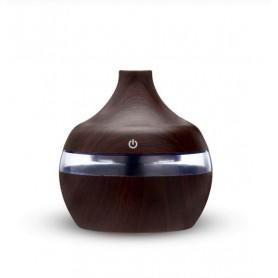 DrPhone Ultrasone Luchtbevochtiger - Humidifier - Verwisselbare Aroma Essentiële Olie Diffuser met 7 kleuren Ledlicht - Darkwood