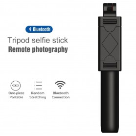 DrPhone Z4 Bluetooth Draadloze Inklapbare Tripod Selfie Stick – 270 graden - Opvouwbaar - ZWART