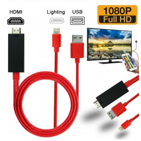 DrPhone HD - Lightning naar HDMI HDTV-adapterkabel Plug & Play 1080p - voor iOS-apparaten iPhone / iPad - 2 Meter