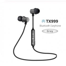 DrPhone Magnetische Sport Nekband Draadloze Headset – Oortelefoon - Bluetooth 4.2 met microfoon - Grijs