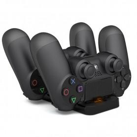 DrPhone PS4 (Slim/Pro) Dubbele oplaadstation - Charging Dock voor Draadloze Controllers + Opberghouder - Zwart