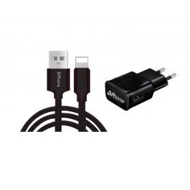 1 Pack DrPhone® Black Series - 10W Lader Oplader + 1 Meter Stevige iPhone + iPad Oplaadkabel