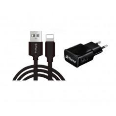 1 Pack DrPhone® Black Series - 10W Lader Oplader + 2 Meter Stevige iPhone + iPad Oplaadkabel