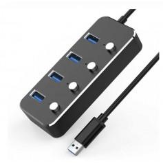 DrPhone AH1 Aluminium 4-poorten USB 3.0 Hub met Aan/Uit Schakelaars - 5Gbps - Splitter - Zwart