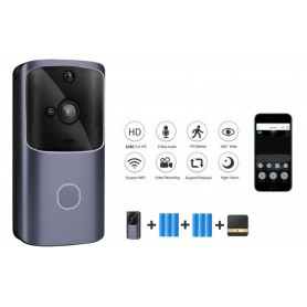 DrPhoneⓇ HawkX2 – Video Deurbel – Wireless Camera Wifi + 4G - Inclusief App + 6 Batterijen + Lader + Binnen Bel - Zwart