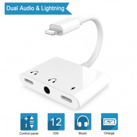 DrPhone 3 in 1 Lightning Splitter – Dual Lightning Aux Audio & Opladen (2.4A) + 3,5 mm Aux Jack Audio - Wit