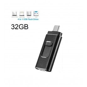 DrPhone EasyDrive - 32GB - 4 In 1 Flashdrive - OTG USB 3.0 + USB-C + Micro USB + Ligtning iPhone - Android - Tablet Opslag