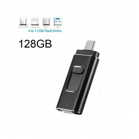 DrPhone EasyDrive - 128GB - 4 In 1 Flashdrive - OTG USB 3.0 + USB-C + Micro USB + Ligtning iPhone - Android - Tablet Opslag