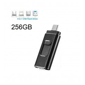 DrPhone EasyDrive - 256GB - 4 In 1 Flashdrive - OTG USB 3.0 + USB-C + Micro USB + Ligtning iPhone - Android - Tablet Opslag