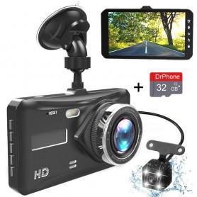 DrPhone DUOCAM-HD - Dashcam + 32GB Micro SD Kaart Full HD 1080P 4 Inch IPS DVR - Auto Camera Lens Nachtzicht - Parkeer Monitor