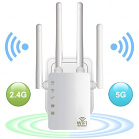 DrPhone WR4 Pro - Wifi Versterker - Range Extender - 5GHZ + 2.4GHZ Dual Band Repeater - Router - 4 Antenne - Wit