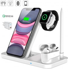 DrPhone DFC - 4 in 1 Draadloze Oplader – Fast Charge Oplaadstation voor Watch Series 4/5/6 /SE AirPods Pro / 2 & Pencil – Wit