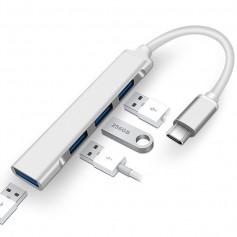 DrPhone ONVIA - USB-C - 4 Poort USB 3.0 / 2.0 Dock - Type-C Aluminium Case - Docking - Extra USB Poorten Uitbreiding