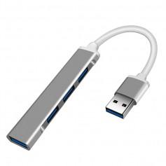 DrPhone MUH01 Mini Aluminium USB 3.0 HUB – Adapter - 4 Poorten USB 3.0 – Zilver