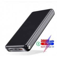 DrPhone PW3 Powerbank 30.000mAh – Snel Opladen Qualcom 3.0 - PD 3.0 USB C Power Delivery- 18W -Zwart