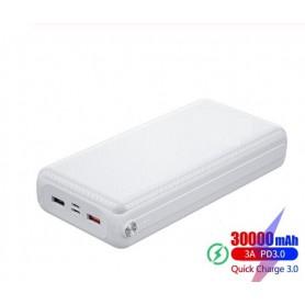 DrPhone PW3 Powerbank 30.000mAh – Snel Opladen Qualcom 3.0 - PD 3.0 USB C Power Delivery- 18W -Wit