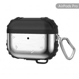 DrPhone APC1 Airpods Pro Metalen Siliconen Rugged Case - Shockproof – 360 Graden bescherming - Met Haak – Zilver/Zwart