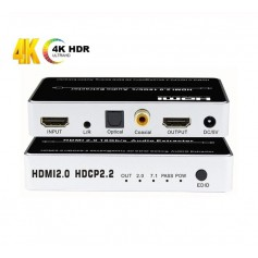 DrPhone HAE1 HDMI 2.0 Audio Extractor - 4K / 60Hz - HDR HDCP 2.2 - Audio Converter - Toslink / Coaxiale Audio + Stereo + EDID