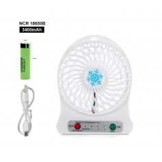DrPhone AERO1 - Mini tafelventilator + 1x 18650 Lithium Batterij – 3 standen – LED Lamp – Portable - Reis ventilator – Wit