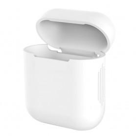DrPhone Siliconen Airpod Case – Geschikt voor Airpod 1 & 2 – Bescherming tegen Val & Stootschade – Wit