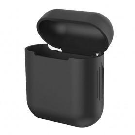 DrPhone Siliconen Airpod Case – Geschikt voor Airpod 1 & 2 – Bescherming tegen Val & Stootschade – Zwart